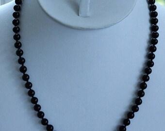 "ON SALE Monet Black 6mm Beaded Necklace, Vintage, Faux Onyx,Glass, 18""  (A2)"