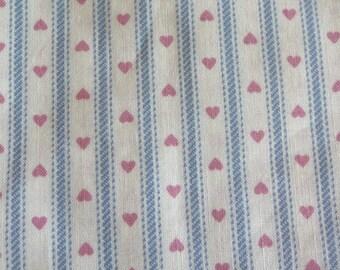 Handmade Napkins, Cloth Napkins, Fabric Napkins, Country Cottage, Set of Two, Hearts, Stripes, Unique Linens, Vintage Fabric, Cotton Napkins