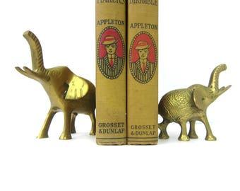 Small Brass Elephants figurines Heavy Brass Pair of Animals Set of Elephants modern Home decor mid century brass bookends Retro Ranch GS