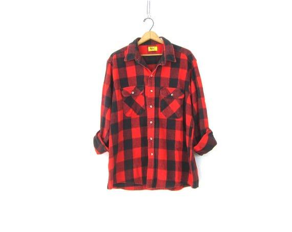 Buffalo Plaid Shirt Cotton Flannel Red Black Lumberjack Button Up Long Sleeve Oversized Grunge Vintage Mens Rugged Work Shirt Size Large XL