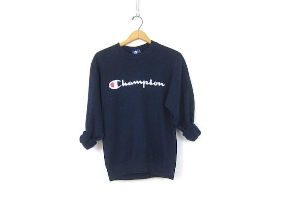 Vintage Champion Sweatshirt Navy Blue Sports Sweatshirt Athletic Logo sportswear Retro Sporty Sweater Pullover Unisex Medium Large