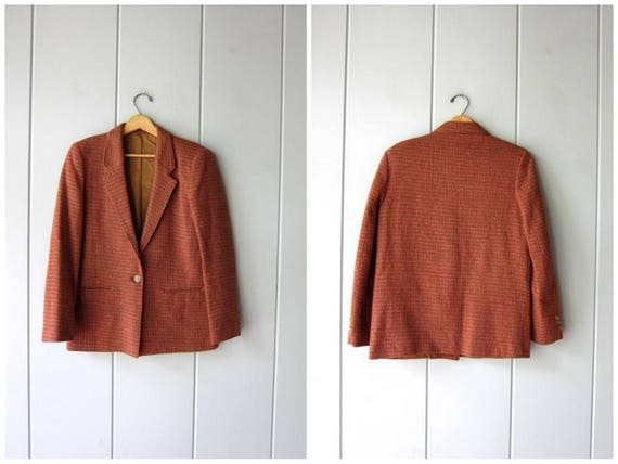 70s Plaid Suit Coat Regent Blazer Red Green Brown Wool Jacket Button Up Fall Coat Equestrian Preppy Power Sports Coat Womens Small Medium