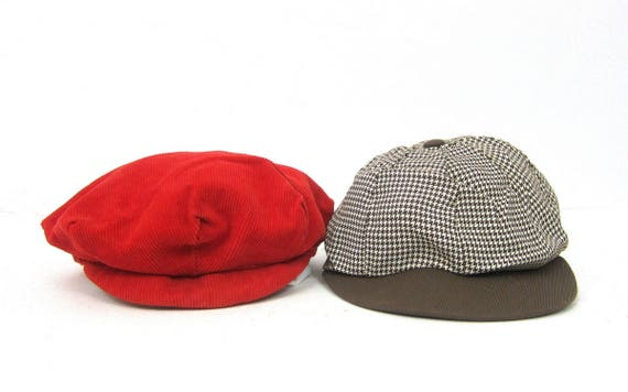 Vintage Children's hats small Newsboy Caps Hats Brown Houndstooth and Red Corduroy Baby Hats Toddler Hats GS