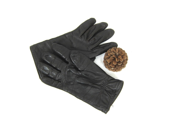 Dark Brown Leather Thinsulate Gloves Lined Vintage Driving Gloves Dress Up Retro Fall Winter gloves Size 8.5 9