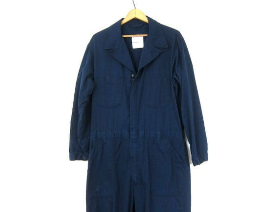 Blue Coveralls Vintage Jumpsuit Distressed Mechanic Suit Pants Dark Blue Bibs Jumper Jumpsuit Mens size 44 regular