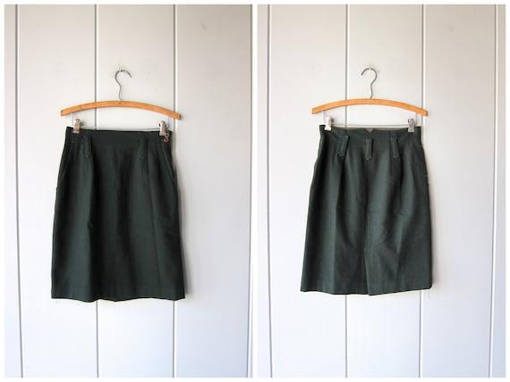 Dark Green Wool Skirt Vintage 80s Minimal High Waist Preppy Skirt Forest Green Fall Wool Mini Skirt with POCKETS Prep Skirt Womens Small