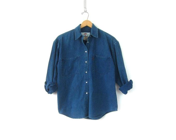Vintage LEVIS jean shirt Basic Blue Green button down Levis Denim Shirt Casual Denim Oxford Street Style Shirt 90s Levis Shirt Womens Medium
