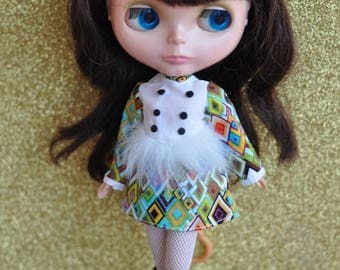 Mod Blythe Faux Fur Dress 15 Multi coloured patterned print dress by maker and muse
