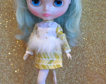 Mod Blythe Faux Fur Dress 17 Lime patterned print dress by maker and muse