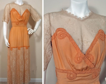 Vintage Edwardian 1910s Peach Silk and Cream Lace Dress SZ XS