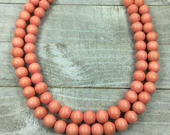 Lil' Melon Collection - Melon Beaded Necklace - Double Strand Wood Beaded Necklace - Statment Bib Necklace - Double Chunky Necklace
