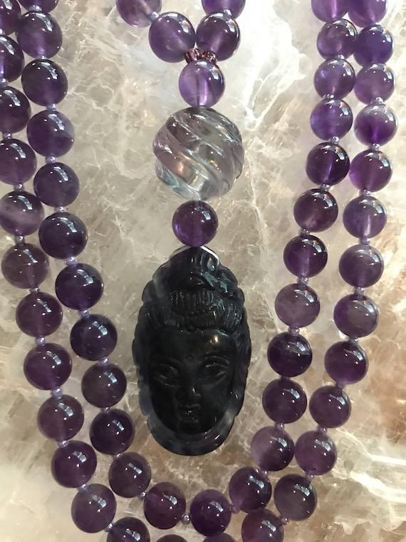 Amethyst and Flourite Mala/Prayer Beads