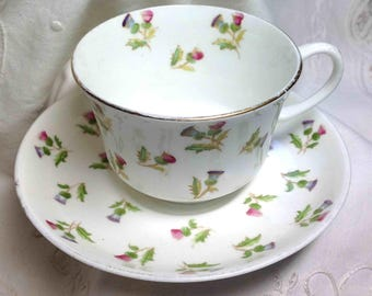 Teacup Aynsley Thistle Cup & Saucer Pink and Purple Chintz Tea Cup Gilt trim Bone China Made in England Elegant Dining Lovely Gift for Her!
