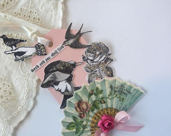 Vintage Bird Tag, Art Tag, Hand Stamped Tag, Assemblage Paper Tag, Victorian Art Hang Tag, Bird Tag, Paper Doll Art