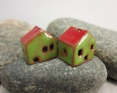 READY TO SHIP...Miniature Terracotta House Beads...Set of 2...Green Walls/Red Roof