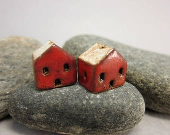 READY TO SHIP...Miniature Terracotta House Beads...Set of 2...Sunset Red Walls/Eggshell Roof