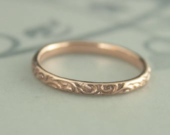 Women's Wedding Band~Rose Gold Ring~Rose Gold Band~Vintage Style Band~Women's Wedding Ring~Wedding Band~Antique Style Band~Skinny Flourish