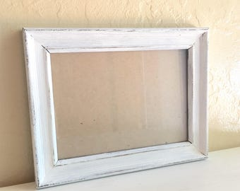 Farmhouse Style 5x7 Shabby Chic White Painted Wooden Picture Frames Wood Distressed