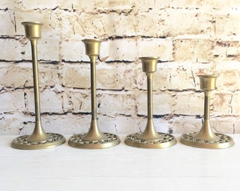 Matching Set of Vintage Brass Patina Metal Candlesticks Candle Holders Classic Design 4 Four