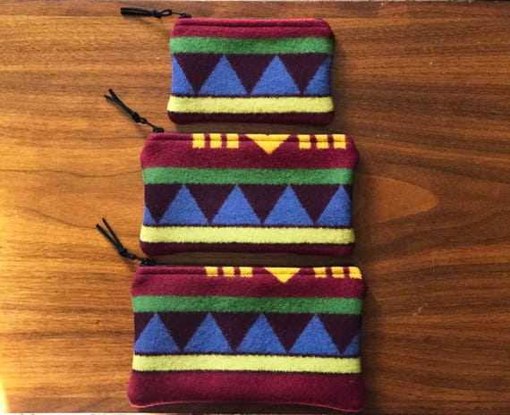 Gift Set of 3 XL / Organizer Set / Travel Set Wool Bright Serape