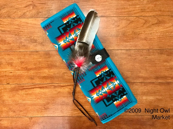 Feather Holder / Feather Case XL Wool Turquoise Mini Chief Joseph