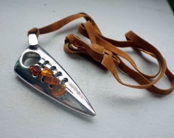Sterling and Amber Necklace - Leather - Organic - Italy.