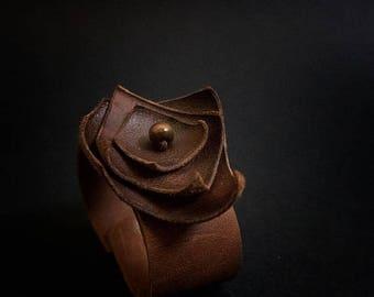 40% OFF SALE 40 Percent OFF Sale Rustic leather flowers cuff bracelet wristband brown  boho jewelry