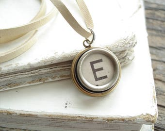 Typewriter Key Jewelry. Letter E Necklace. Vintage Typewriter Key Necklace. Personalized Initial. Adjustable Leather Necklace. Unisex Gift.