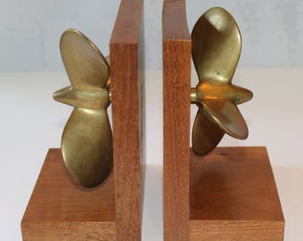 Vintage Solid Brass on Wood Boat Props Book Ends, 1940's or 1950's
