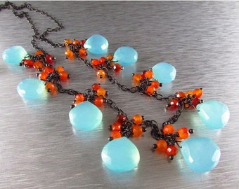 25 OFF Aqua Chalcedony With Orange Carnelian Wire Wrapped Oxidized Sterling Silver Necklace
