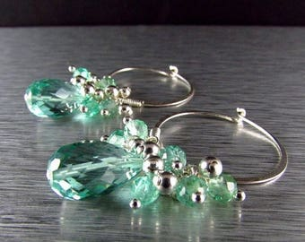 25 OFF Aqua Quartz With Apatite Cluster Sterling Silver Hoop Earrings