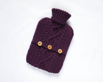 Hot water bottle cover / sweater - wool rich blend - Blackcurrant. Hand Knit Bottle Cosy / Cozy.