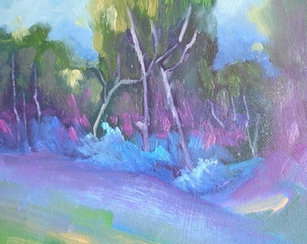 "Landscape Oil Painting, Trees in Shadow, 6x8"" Landscape, ""Deep Purple"""