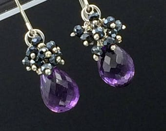 30% SALE Amethyst Cluster Earring Black Spinel Gemstone Cluster Wire Wrap Sterling Silver Purple Gemstone Earrings February Birthstone