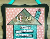 Crazy loud Family, mixed media collage art plaque sign by Things with Wings