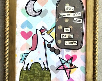 Few get the picture, unicorn framed mixed media collage art by things with wings