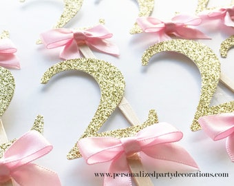 2 Gold Glitter Cupcake Toppers, Girl 1st birthday party, 2nd birthday, 3rd birthday, glitter party decorations – Quick & Free Shipping