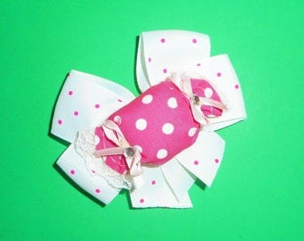 White and Pink Dot Candy Bow Barrette