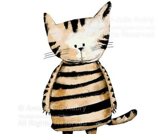 50% Off - Summer SALE Striped Cat - open edition print
