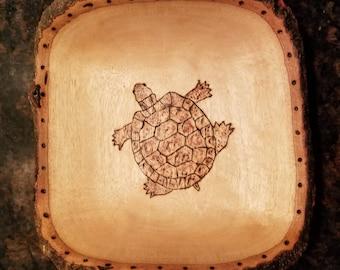Wood burned Turtle Dish