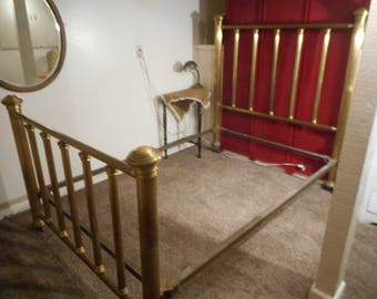 Antique Brass Bed 4 Poster Double Full Bed Cast Iron rails Mission Craftsman Arts and Crafts