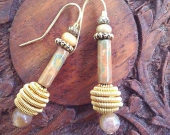 Unique boho one-of-a-kind caramel earthy drop earrings - awesome stones...