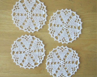 Set of 4 Crocheted 5.5 Inch Doilies - Simply Hearts