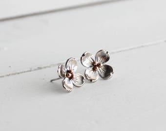 Dogwood Flower Post earrings, Spring Flower earrings, Dogwood Blossoms, Gifts for Her, Handmade by Hapa Girls, Stocking stuffers