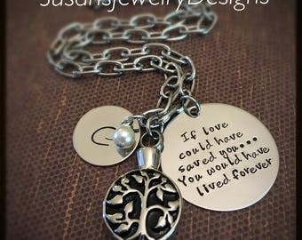 Tree of Life Urn Necklace - stainless steel 1 sided discs & tree of life urn and link chain - Swarovski crystal - custom wording available