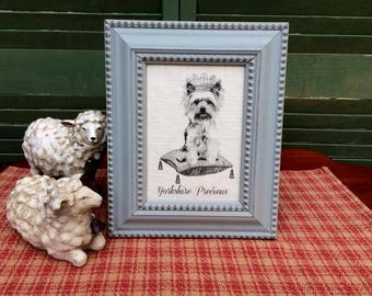 Yorkshire Terrier in French Crown, French Country Decor, Farmhouse Decor, Linen Print, Distressed Shabby Chic Frame, Yorkie Printed on Linen