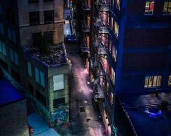 Gotham Detroit  Fine Art Night Photograph on Metallic Paper