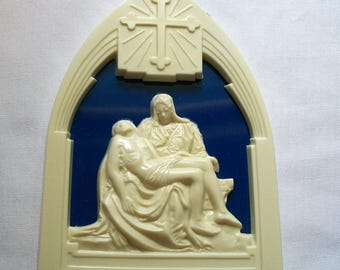 Mary and Jesus Wall Hanging, Plastic Vintage Religious wall hanging, Grieving Mary with Jesus