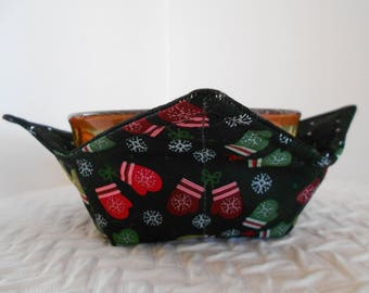 Microwave Bowl Cozy, Winter Mittens, Soup Bowl Warmer, Ice Cream Bowl Holder, Bowl Cozie, Reversible, Fabric Cozy, Hot Cold Bowl Cover