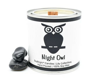 Night Owl Sentiment SoyBright™ Half Pint Paint Can Soy Wax Candle | Wooden Wick | You Pick Scent | Soy Candle Tin | Candle Gift - 8 ounces